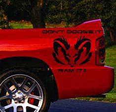 Ram it Vinyl Racing Decals American Muscle, Rear Bed Auto Graphics Stickers for Both Sides, Custom Design Removable Vinyl Art, Vinyl Decals, Dodge Ram 1500 Hemi, Dodge Ram Logo, Wolf Mask, Truck Stickers, Dodge Rams, Jada Toys, Racing Stripes