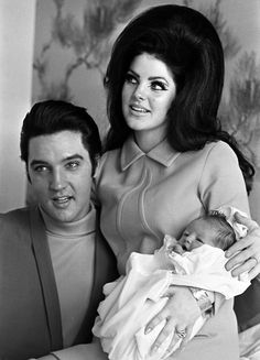 Elvis and Priscilla Presley with baby Lisa Marie, February 1968.