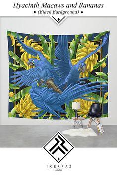 Hyacinth Macaws and Bananas Stravaganza (black background) wall tapestry from Iker Paz Studio Society6 Store.