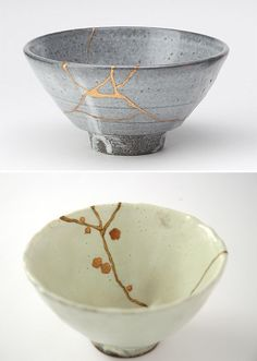 Kintsugi is the centuries-old Japanese art of fixing broken pottery with a special lacquer dusted with powdered gold, silver, or platinum.