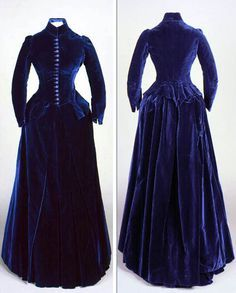 Two-piece day dress, ca. 1888. Dark blue silk velvet, silk