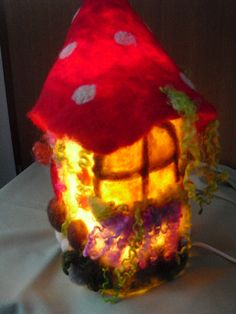 OOAK needle felted elf lamp fairy house fairy by LittleWonders4u, $85.00
