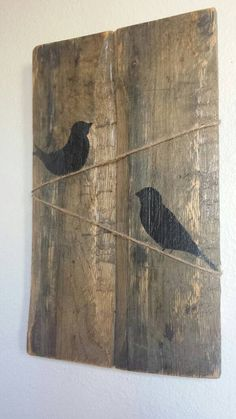 Birds on a line pallet art. Pallet Painting, Pallet Art, Baseball Crafts, Pallet Boards, Hanging Signs, Print Pictures, Barn Wood, Wood Art, Wood Crafts