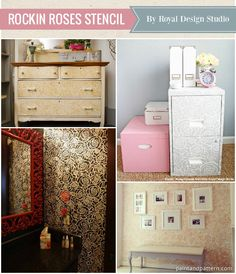 Rockin Roses Floral Stencils from Royal Design Studio - Best stencils for home decorating and DIY projects