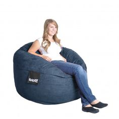 $169 Navy Blue 4-foot Microfiber and Memory Foam Bean Bag | Overstock.com Shopping - The Best Deals on Bean & Lounge Bags