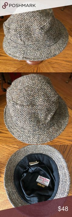 L.L. BEAN Men's Gray HARRIS Tweed Gore•Tex Hat Repel rain in style with this handsome 100% wool Gray Harris Tweed Gore•Tex Hat is from L.L. BEAN ~ Size XXL. Hand woven in the Outer Hebrides in the United Kingdom. Crushable for easy packing. In excellent preowned vintage condition. Smoke-free home. L.L. Bean Accessories Hats