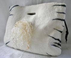 """WILD LIFE I"" UNIQUE PIECE. Merino wool. Black & white. Seamless. Designed & wet felted by NEREIDA BONMATÍ for NAÏVE Slow Felt Fashion. Textile Art https://www.kichink.com/stores/naiveslowfeltfashion"