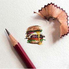 Miniature Burger Watercolour on Cartridge Paper by Matchbox Art Matchbox Art, New Art, Mixed Media, Pencil, Miniatures, Watercolor, Paper, Artist, Hamburger