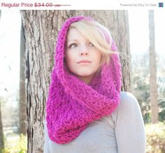 SALE The Chunky Cowl Scarf Shawl Hood  Hot Pink by CThandmade, $30.94