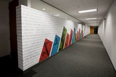 Burns & McDonnell Fitness Center Graphics by Brady Ritter, via Behance Gym Interior, Office Interior Design, Office Interiors, Interior And Exterior, Interior Decorating, Office Wall Graphics, Window Graphics, Environmental Graphic Design, Environmental Graphics