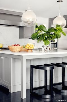 The Urban Electric Co Globus, Contemporary, Kitchen, Domaine Home Kitchen Island With Seating, Kitchen Island Lighting, Kitchen Island Overhang Support, Island Kitchen, Kitchen Cabinets, Island Bench, Gray Cabinets, Kitchen Faucets, Kitchen Towels
