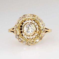 Pretty .65ct t.w. 1930's Art Deco Old European Cut Diamond Halo Filigree Ring 14k @rubylanecom #diamonds #rubylane