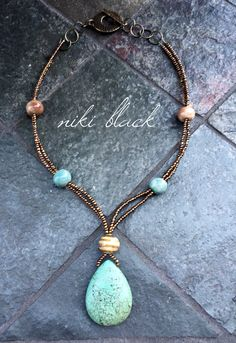 Made this necklace using a gemstone pendant, Gaea ceramic beads and seed beads. -Niki Black.