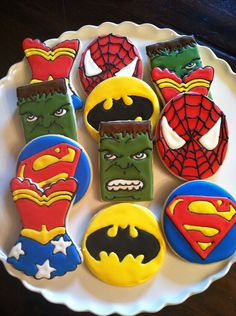 Superhero Marvel and DC Style Cookies by The Occasional Cookie at http://www.facebook.com/OccasionalCookie via #TheCookieCutterCompany