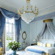 Courage + Love Prints A regal blue bedroom inspired by Disney's 2015 Cinderella movie.- Pinned by - A regal blue bedroom inspired by Disney's 2015 Cinderella movie.- Pinned by - Blue And Gold Bedroom, Blue Rooms, White Bedroom, French Master Bedroom, Master Bedrooms, Parisian Bedroom, Luxury Master Bedroom, Hotel Inspired Bedroom, French Bedroom Decor