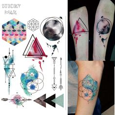 1 Piece Watercolor Geometric Magic Tattoo with Triangle, Square, Semicolon,Lock Design Body Paint Waterproof Tattoos