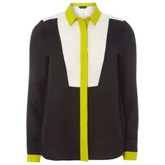Dorothy Perkins Black Colour Block Shirt (£36) ❤ liked on Polyvore featuring tops, polyester shirt, color block tops, color block shirt, colorblock shirt and colorblock top