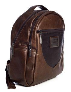 Mochila masculina um bolso couro legítimo Vira Vento cedro - Enluaze Loja Virtual | Bolsas, mochilas e pastas