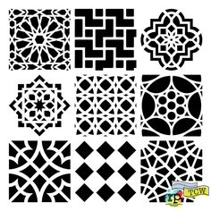 9 Moroccan Tile Stencils. 6x6 or 12x12 inches. The Crafters Workshop.