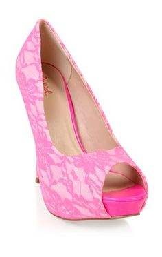 neon pink pump with lace overlay