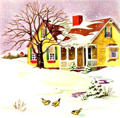 My Puzzles - Christmas Winter Vintage Retro - Cozy Yellow Cottage