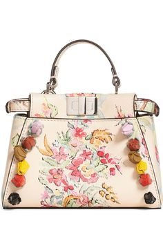 Main Image - Fendi Micro Peekaboo Floral Appliqué Leather Satchel Leather  Satchel Handbags 41888109f0060