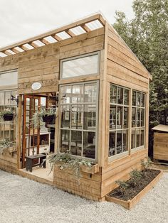 Backyard Greenhouse, Backyard Landscaping, Window Greenhouse, Small Greenhouse, Wood Greenhouse Plans, Homemade Greenhouse, Backyard Bar, Greenhouse Ideas, Landscape Design Plans