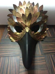 Bird hawk mask with metallic painted by FantasyClayFlowers on Etsy