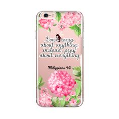 Don't Worry About Anything instead Pray About Everything, Philippians 4:6 Clear Transparent Phone Case, Bible Scripture, Flower Design, Inspirational iPhone case, Inspirational words, Inspirational quote