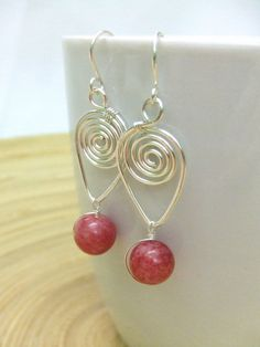 Plum Agate Earrings Spiral Earrings Wire Wrap Earrings Hammered Spiral Pink Earrings Hammered Metal Wire Wrap Jewelry Gifts Under 15. $14.95, via Etsy.
