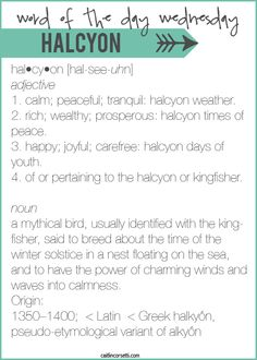 Word Of The Day Wednesday-Halcyon