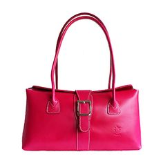 Buckle Lock Bright-Pink Leather Shoulder Bag - Down to £49.99 from £59.99