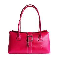 Buckle Lock Bright-Pink Leather Shoulder Bag - £59.99