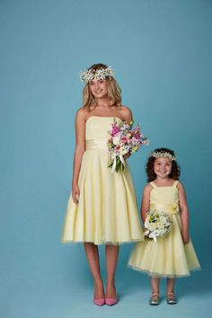 Lemon bridesmaid and flower girl dresses. Available in a range of colours!
