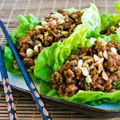 Low-Carb Asian Lettuce Cups (or wraps) with Spicy Ground Turkey Filling; so good.  I can't begin to count how many times I've made this. [from KalynsKitchen.com] #DeliciouslyHealthyLowCarb