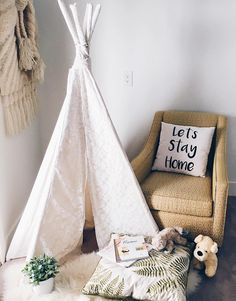A reading nook with a tipi.