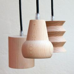 Beech Suspension Light - pendant lighting - cachette - over your sewing table! Luminaire Design, Lamp Design, Wood Design, Lighting Design, Lighting Ideas, Light Fittings, Light Fixtures, O Gas, Suspension Design