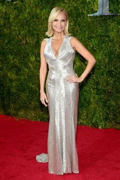Kristen Chenoweth in a silver Zac Posen dress at the 2015 Tony Awards.