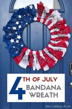 Celebrate the red, white, and blue when you create this of July Bandana Wreath! Patriotic decor you can keep on your door all summer long! Patriotic Wreath, Patriotic Crafts, July Crafts, Summer Crafts, 4th Of July Wreath, Holiday Crafts, Holiday Wreaths, Holiday Ideas, Wreath Crafts