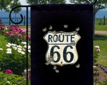Bullet Hole Road Sign Route 66 Small Garden Flag, Adding Style and Distinction…