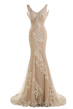Sunvary Gorgeous Champagne Mermaid Wedding Dresses for Bride Lace and Chiffon Prom Evening Gowns US Size Champagne Sunvary Wedding Party Dresses, Bridal Dresses, Bridesmaid Dresses, Prom Dresses, Formal Dresses, Gown Wedding, Backless Wedding, Champagne Lace Wedding Dress, Mermaid Bridal Gowns