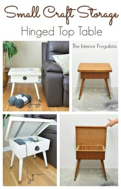 Small Portable Craft Storage Hinged Top Table Before and After | The Interior Frugalista