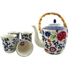 """teatrade Lux: """"Lauren"""" by Ralph Lauren """"Mandarin Blue"""" 5-Piece Tea Set"""