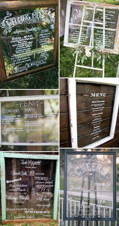 Glass Frame and Window Pane Wedding Menu Ideas   www.onefabday.com