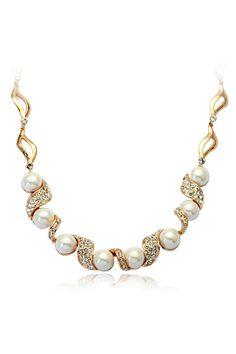 Pearl Diamond Gold Chain Necklace  @scrapwedo
