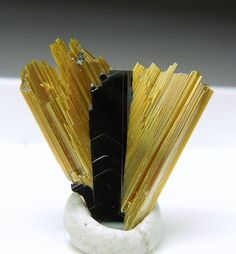 Rutile on Hematite - I like the architectural look of this Minerals And Gemstones, Rocks And Minerals, Gem Stones, Stones And Crystals, Mineralogy, Beautiful Rocks, Mineral Stone, Rocks And Gems, Geology