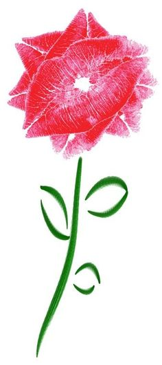 Put lipstick on, kiss the paper, rotate your lips each time until it looks like a flower.