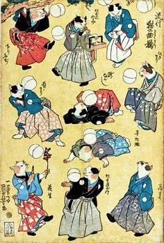 Fashionable Cats Juggling Balls, 1841 by Utagawa Kuniyoshi on Curiator, the world's biggest collaborative art collection. Japanese Artwork, Japanese Painting, Japanese Prints, Chinese Painting, Japan Illustration, Botanical Illustration, Art Chinois, Japanese Cat, Japanese Style
