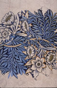 I'm super-inspired by Arts & Crafts/ Art Deco /Beaux Arts stuff. especially William Morris fabric like this.[William Morris (English), Tulip and Willow, pencil/watercolor drawing for a fabric design, c. Art Nouveau, Arts And Crafts Movement, Textures Patterns, Print Patterns, William Morris Art, William William, Morris Wallpapers, Stoff Design, Motif Floral
