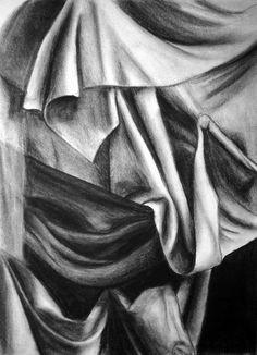 Title:Drapery Still Life  Artist:Nancy Mueller  Medium:Drawing - Charcoal Drawing